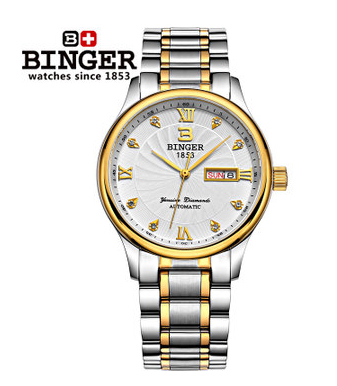 Fashion Casual Man Roma Display Watches Full Diamond Imitation Wristwatch Women Dress Relogio Automatic Clock Noble Binger Watch 2017 new full steel automatic watch binger casual fashion wristwatch with gold calendar man business hours clock relogio reloj