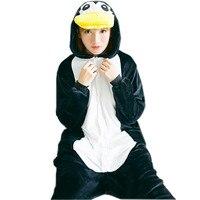 Black Penguin Pajamas Set Flannel Adult Pijama Mujer Hooded All In One Pajamas Animal Sleepwear Womens