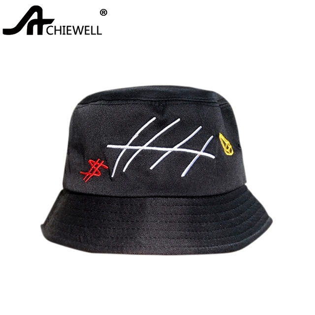 2c119845bba ACHEWELL Japanese Letter Embroidery Fisherman Sun Hat Spring Summer Travel  Wild Hat Men Women Casual Fashionable