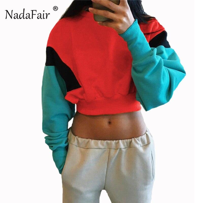 Nadafair color patchwork sudaderas con capucha holgadas para mujer 2018 Otoño Invierno manga larga casual crop tops mujer sexy sportwear