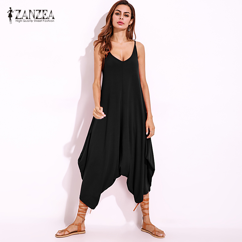 ZANZEA Women V Neck Strappy Long Jumpsuits Rompers Sexy Female Wide Leg Backless Party Club Overalls