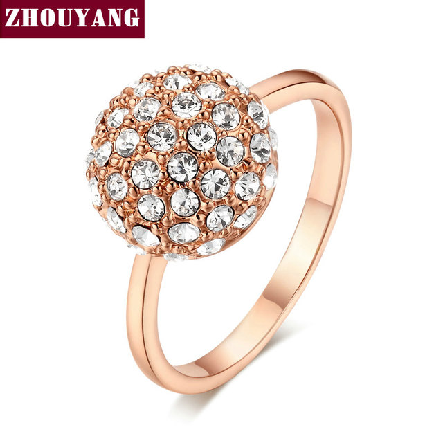ZHOUYANG Top Quality ZYR090 Clear Ball Rose Gold Color Ring  Crystals From Austria Full Sizes Wholesale