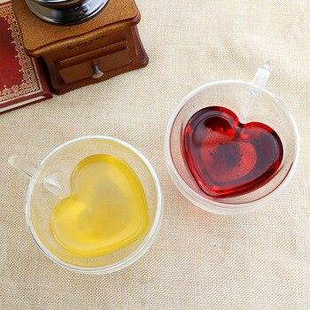 Heart Love Shaped Double Wall Glass Mug Resistant Kungfu Tea Mug Milk Lemon Juice Cup Drinkware Lover Coffee Cups Mug Gift 1