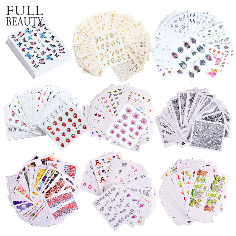 1 Set Mixed Design New Nail Art Sticker Set Black Lace Gold Silver Glitter Flower Water Decal Slider Wraps Decor Manicure CH830-in Stickers & Decals from Beauty & Health