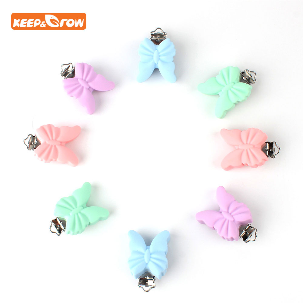 Keep&grow 3Pcs Butterfly Baby Teether Pacifier Clip Holder Baby Dummy Soother Toddler Teether Chain DIY Necklace Accessories