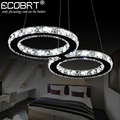 ECOBRT LED Crystal Pendant Lights 24W Creative Restaurant Cord Pendant Lighting Fixture Modern Style Cool White 110-240V AC