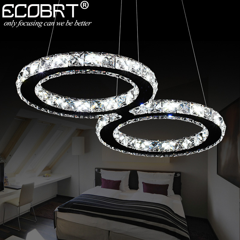 ECOBRT LED Crystal Pendant Lights 24W Creative Restaurant Cord Pendant Lighting  Fixture Modern Style Cool White