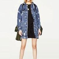 Solid Long Sleeve Hollow Out Denim Jackets Women Casual Mid long Loose Boyfriend Outwears Ladies Fashion Jean Coats Plus Size