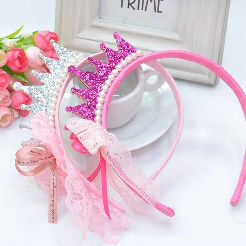 New 2018 Girls Hair Bands Pearls Resin Lace Bow Ribbon Crown Princess Children Accessories Hair Accessories Hair Band
