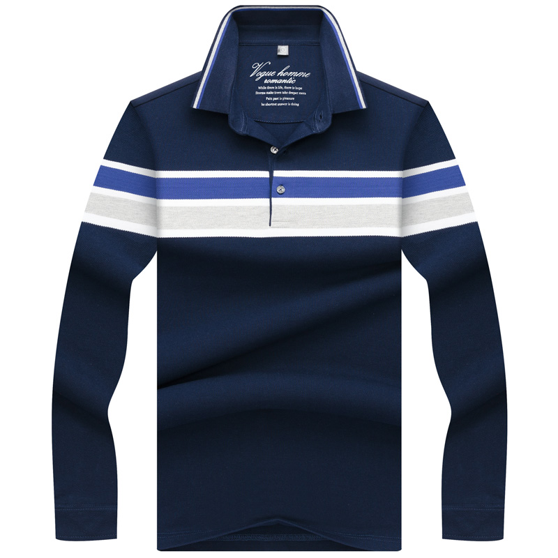Winter Autumn Spring Long Sleeve   Polo   Shirt Men Solid Color Cotton Breathable 3D Embroidery Striped Collar Men's Tops & Tees