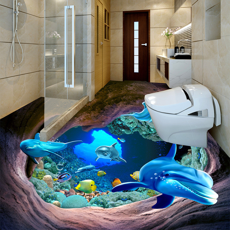 High quality dolphin wall murals buy cheap dolphin wall for Waterproof bathroom murals