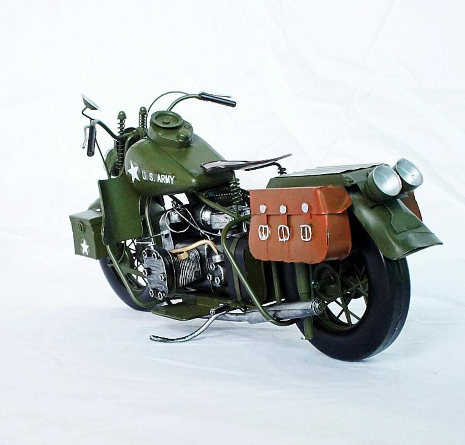 vintage Distressed antique retro military war motorcycle iron hand made craft model for home coffee bar