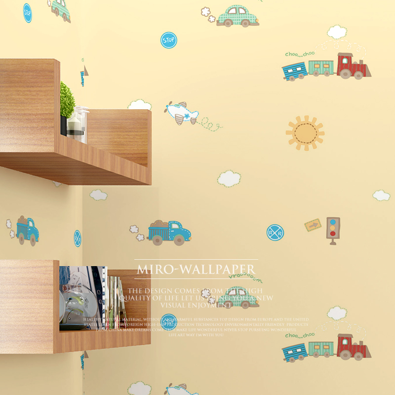 New Children's room baby cute non-woven wall paper bedroom cartoon wallpapers green and warm Korean boy girl cute plane car new cartoon sleeping cute little bear kids room wall paper boy girl bedroom warm non woven wall coating pink children wall paper