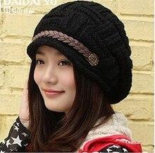 Осень зима леди теплые наушники вязаные шапки модные керлинг кожу чистой рука вязаная шапка теплый открытый лыжные шапки шапки
