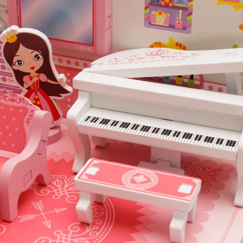 Kids Wooden Doll House Mini 3D Music Living Room Sofa House Games ...