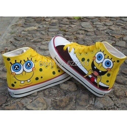 6e2b7b42c499 Lovely SpongeBob Shoes SquarePants Hand Painted Casual Shoes Graffiti  Canvas Shoes For Women Men SpongeBob Couples Sneaker Shoes