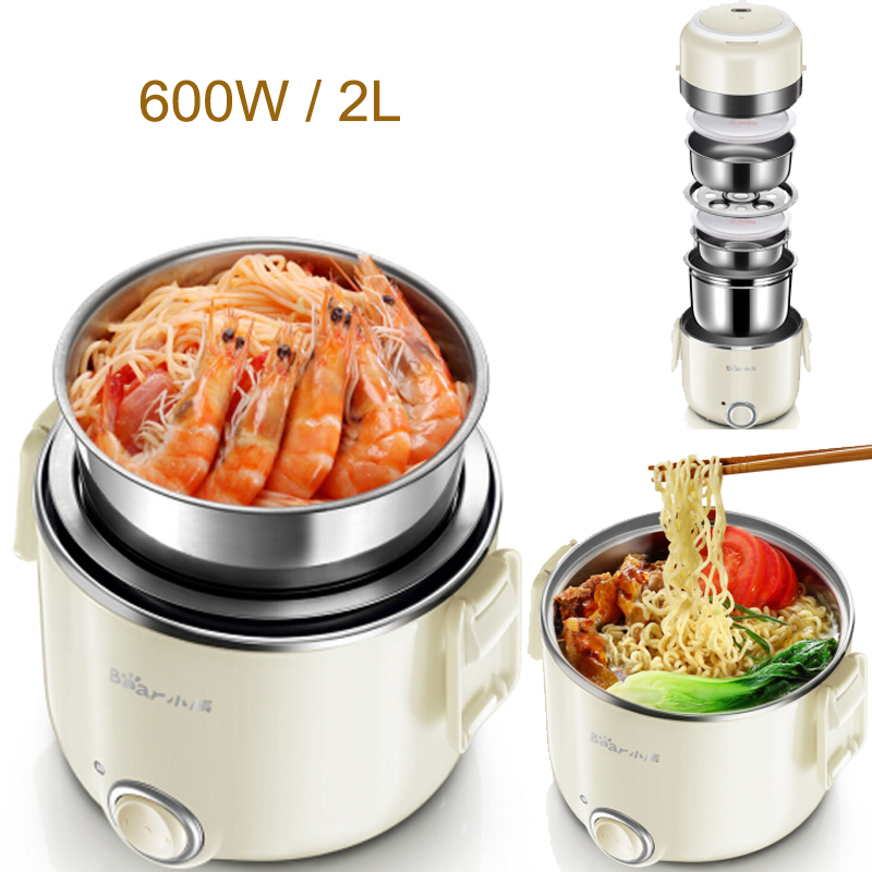 15%JA143 Portable 3layer Food Steamer Electric Heating Lunch Box 600W 2LPower Adjustable Food Warmer Stainless Steel Inner Wall multi function electric lunch box stainless steel tank household pluggable electric heating insulation lunch box