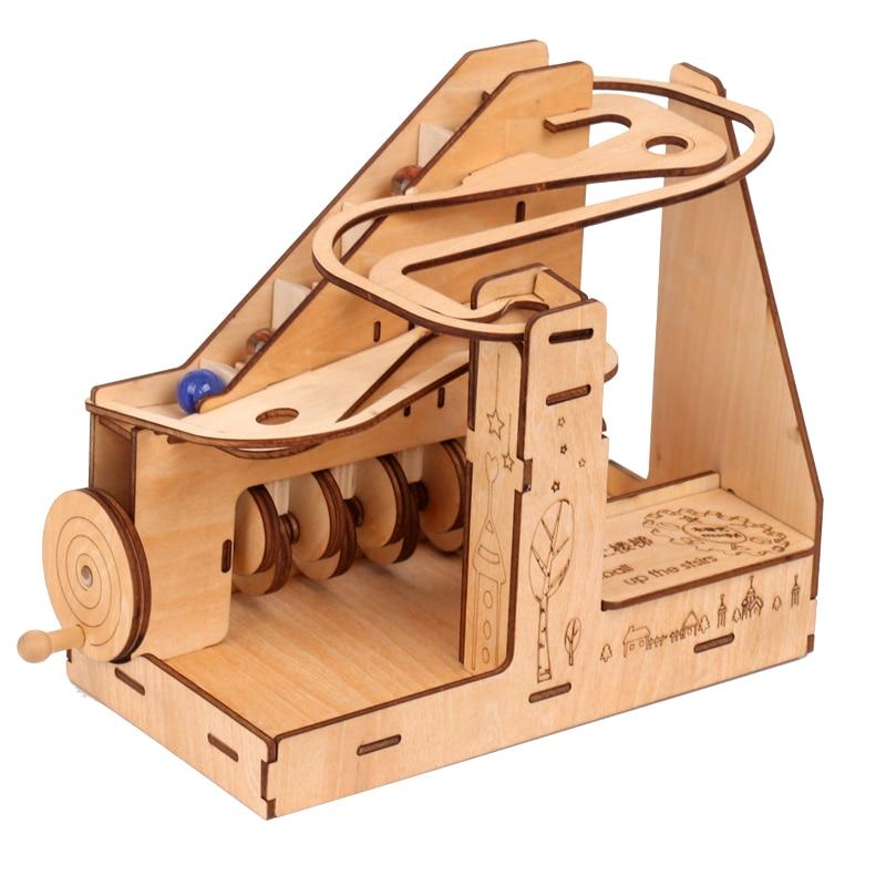 Ukraine 3D Puzzle Children Wooden Mechanical Transmission Model Adult Assembled Toy Marble Slide Track Birthday Male