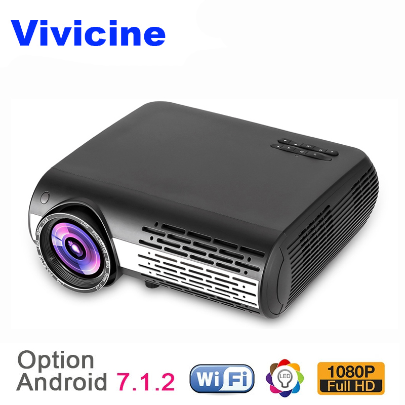 VIVICINE 1080p LED font b Projector b font Option Android 7 1 WiFi Bluetooth Home Theater