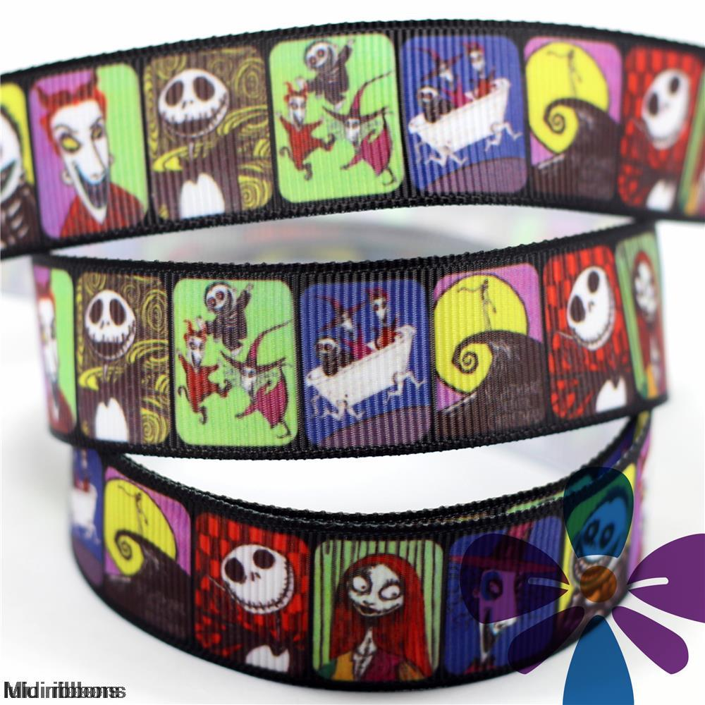 6mm 75mm Nightmare Before Christmas Printed Grosgrain Ribbon/Elastic ...