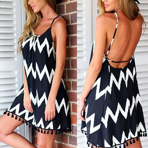 SANWOOD Women's Summer Sexy Backless Strap Beach Dress