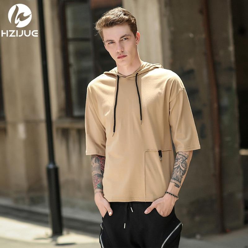 2017 Summer New Fashion Brand Clothing Tshirt Men Hooded Slim Fit Half Sleeve T Shirt Men Solid Color Casual T-Shirts M-XXL