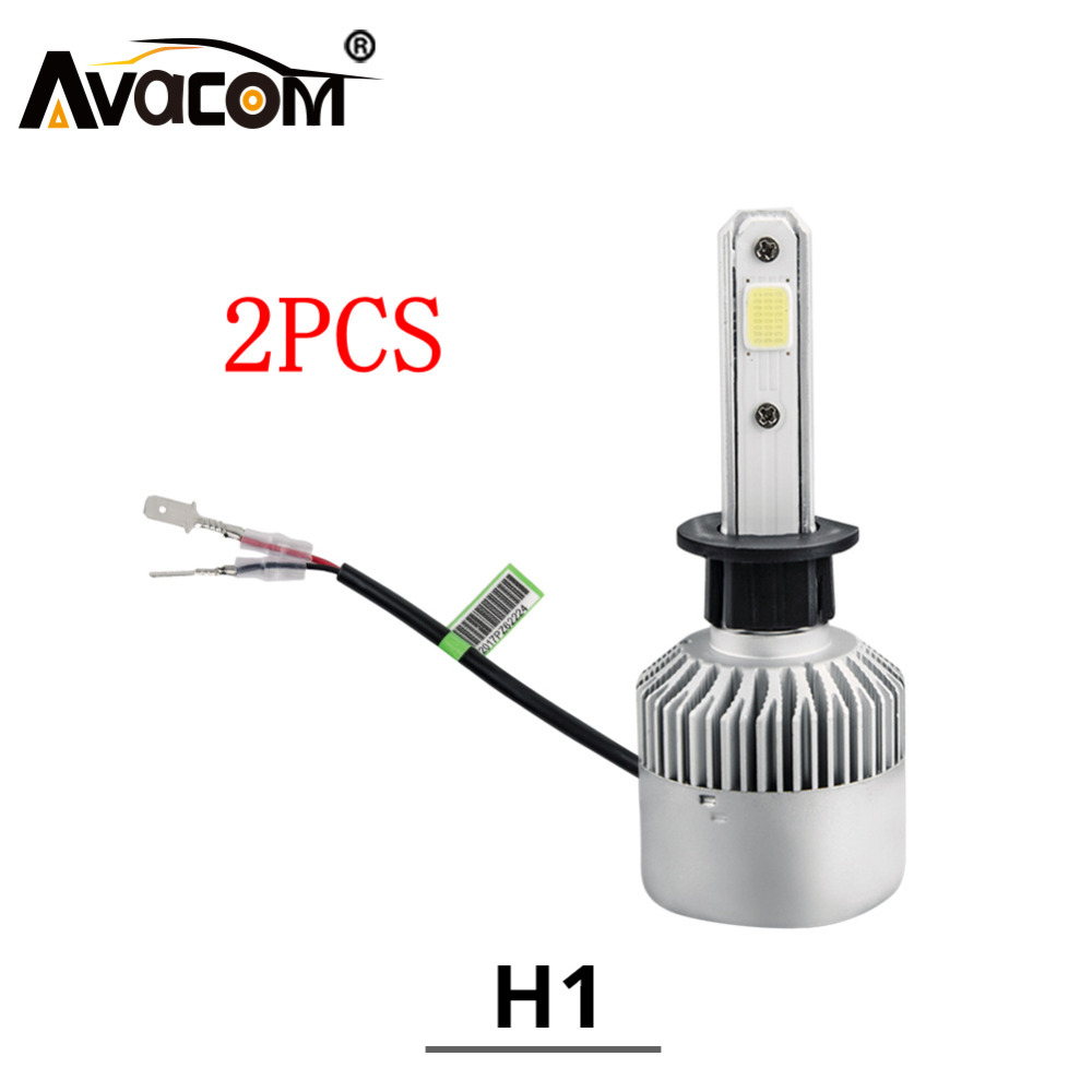 Avacom 2Pcs H1 LED Mini Car Bulb 12V 4300K 6500K 8000Lm COB Chip Super White 24V H1 LED Light Auto Ampoule LED Voiture Coche