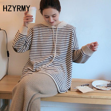HZYRMY Autumn New Women' Cashmere Sweater Loose Large Size Striped Hooded Collar Pullover Winter Soft Wild Thick Female Sweaters цена и фото