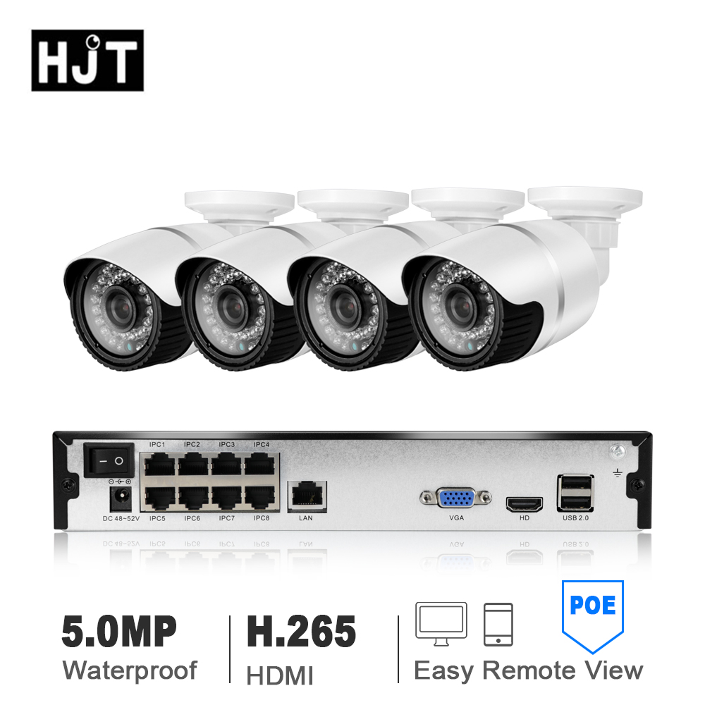 HJT H.265 5.0MP POE 4CH/8CH NVR Kit UHD CCTV System IP Camera Outdoor Waterproof Video Security Surveillance Set P2P