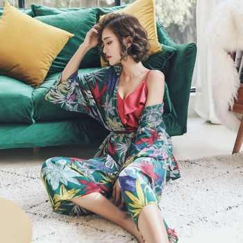 Maple leave spring autumn women\'s pajama set 3 piece sleep set daily sleepwear indoor clothe Cotton V-neck Vintage Home Clothing