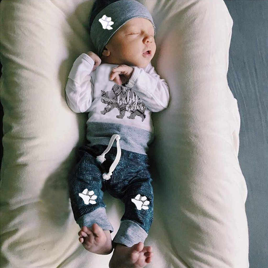 Ropa infantil para recién nacidos, ropa para bebés, Pelele con letras de oso + Pantalones + sombrero, conjunto de 3 uds. De ropa para niños, mickey, gran oferta #06
