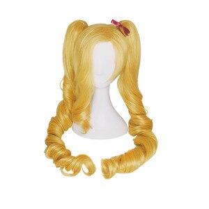 Image 3 - L e mail perücke LOL Jinx Cosplay Perücken Weihnachten Ehrgeizige Elf Jinx Cosplay Perücke Lange Gelbe Welle Bunches Synthetische Haar perucas