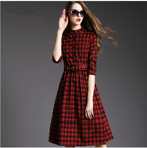 94432b409 2015 الخريف والشتاء فستان ماركة ضئيلة الكلاسيكية انكلترا الأحمر منقوشة  فستان طويل كم طويل الصوف اللباس زائد الحجم