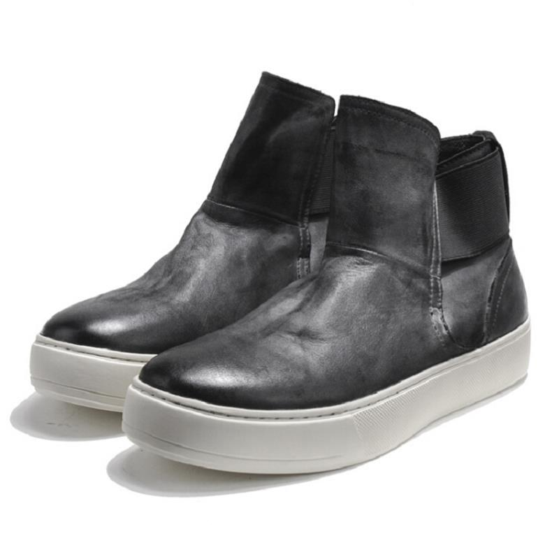 Cuir Botas Rond Bout Slip Homme Casual Noir Sur En Chelsea Mycolen Hommes Chaussures Intensifier Cheville D'hiver Moto Hombre Bottes QCBodxreW
