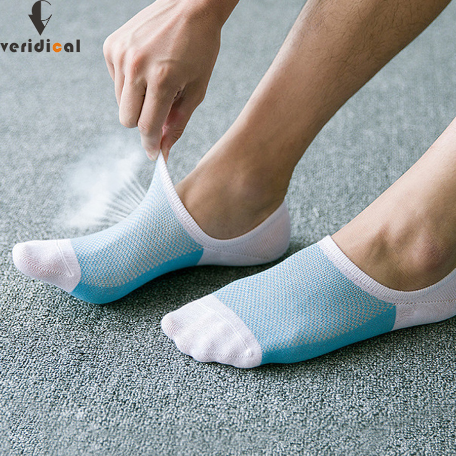 VERIDICAL breathable Sock Slippers cotton boy men summer calcetines invisibles meias masculino cool ankle socks for male 5 pairs