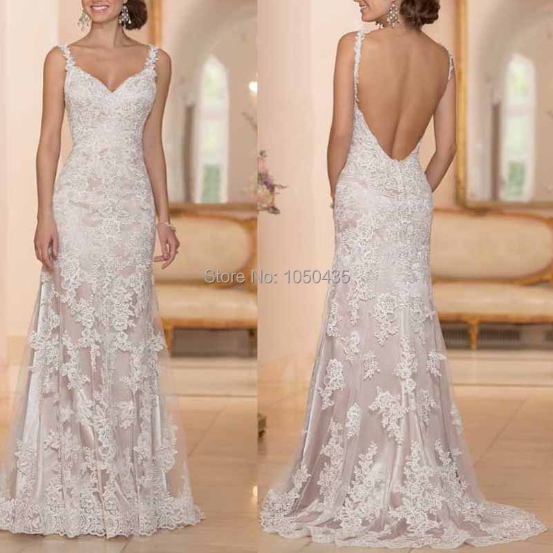 2015 designers white lace mermaid beach wedding dresses for Low backed wedding dresses