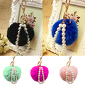 Women Fashion Cute Faux Fur Ball Faux Pearl Keychain Handbag Key Ring Car Key Chain