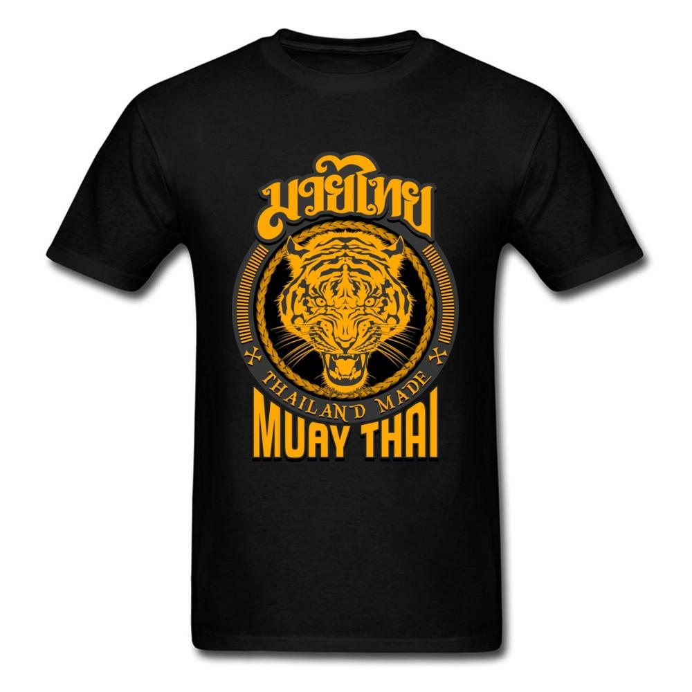 Cool Muay Thai Tiger Thailand T-shirt For Man Kung Fu T Shirt Mens Black Clothing Cotton Tees Groups Tops Hip Hop Tshirt