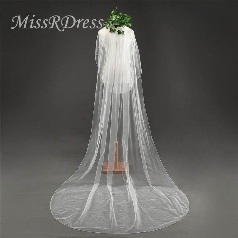 MissDress Two Layers Wedding Veil With Comb 3m Long Soft Tulle Bridal Veil Ivory Cheap Veils For Wedding Accessories JKm14