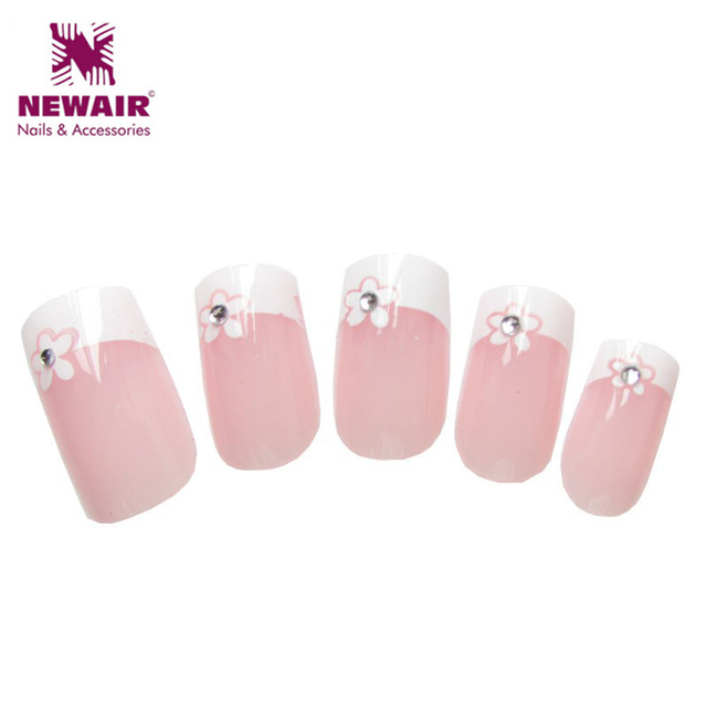 2016 New Style French Nails Tips Flowers Diamond Nail Art Fashion ...