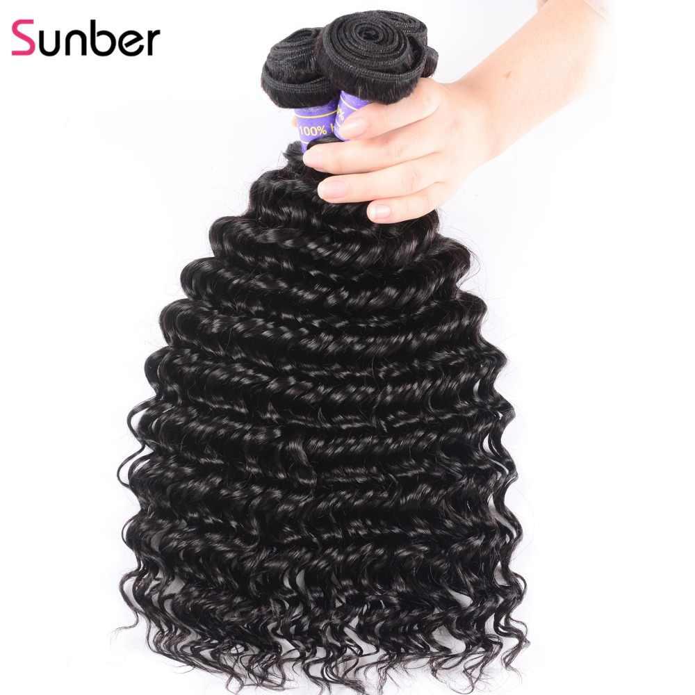 Mechones de pelo brasileño Sunber con ondas profundas con cierre 4*4 extensión de cabello Remy de Color Natural 3 mechones con cierre parte libre