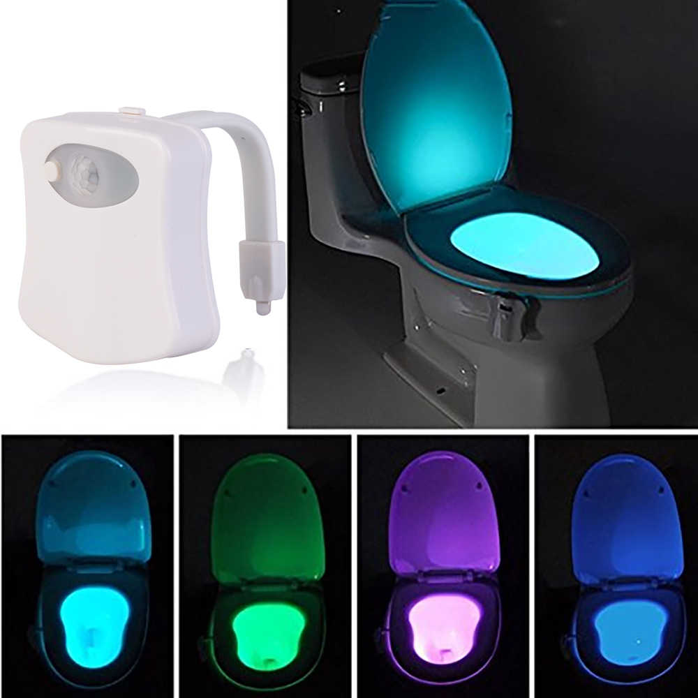 Smart PIR Motion Sensor Toilet Nightlight LED Body Motion Activated On/Off Seat Sensor Lamp 8 Color PIR Toilet Night Light lamp