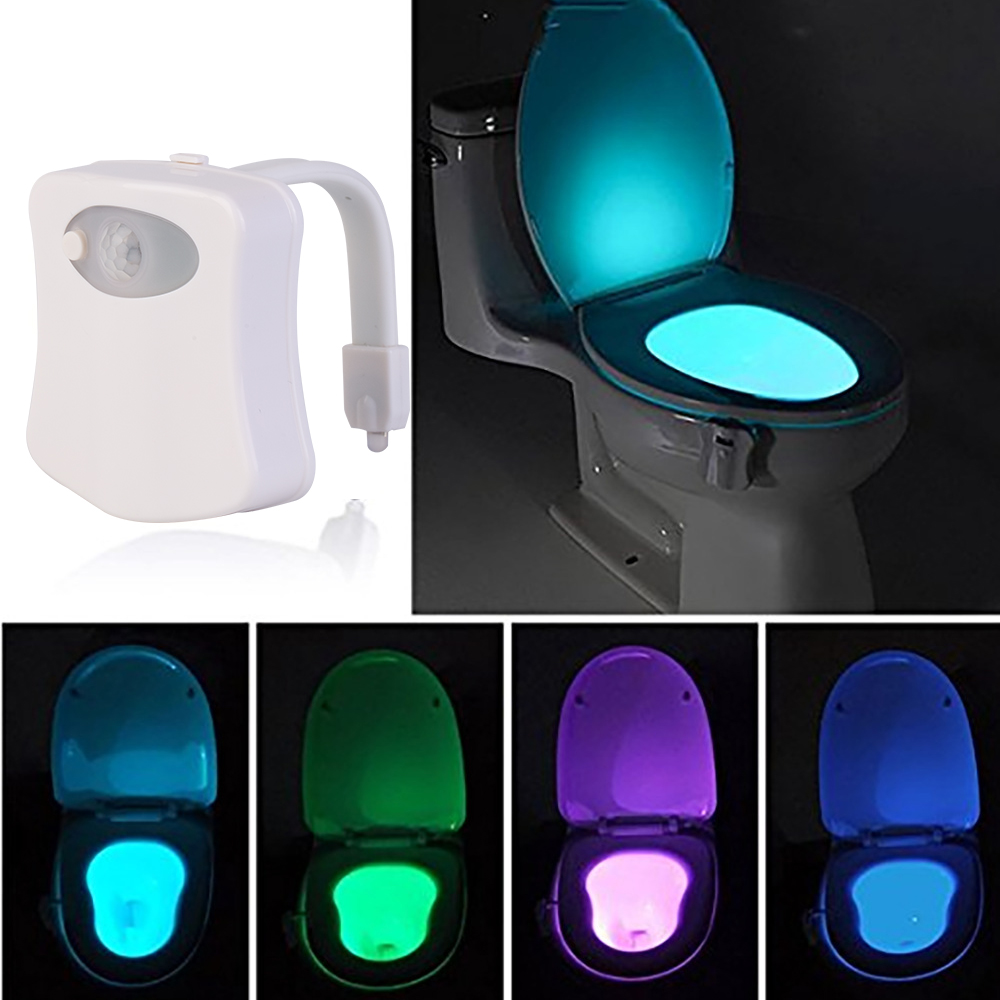 Bathroom Toilet Lamp PIR Motion Light Sensor Activated 8 Colors LED Night Lamp