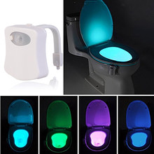 Smart PIR Motion Sensor Toilet Nightlight LED Body Motion Activated On/Off Seat Sensor Lamp 8 Color PIR Toilet Night Light lamp(China)