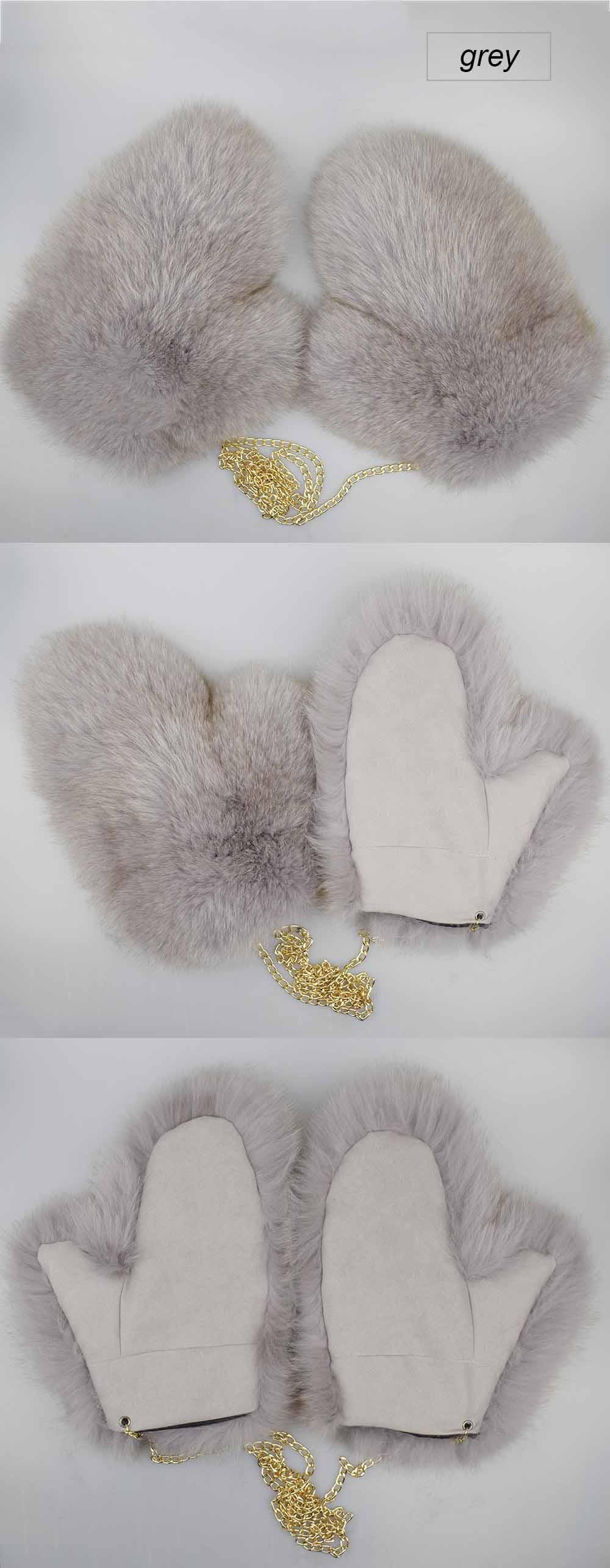 fox fur gloves color grey