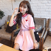 Japanese Soft Girl Spring And Summer Cute Love Pattern Embroidery High Waist Short Sleeve Dress Students