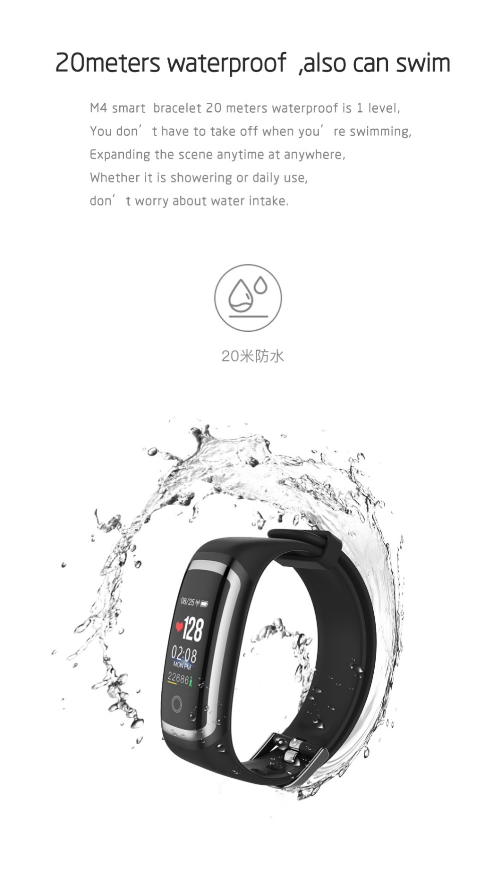 Wearpai M4 fitness tracker Color screen blood pressure passometer message/call reminder smart bracelet for sports swimming 5