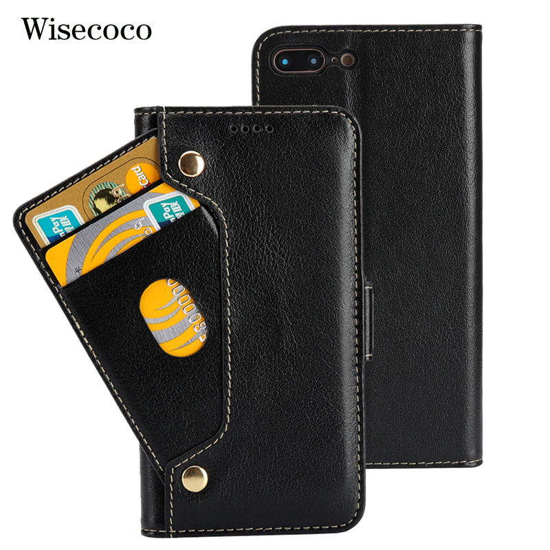 Genuine Leather Phone Case For Iphone 8 7 plus Case Luxury Flip Wallet Cradit Card Holder 360 Cover For Iphone 8plus 7plus Coque