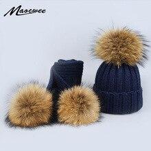 Новинка, комплект из 2 предметов, детская зимняя шапка, шарф для девочек, шапка из натурального меха енота, женские шапки с помпонами, вязаная зимняя шапка
