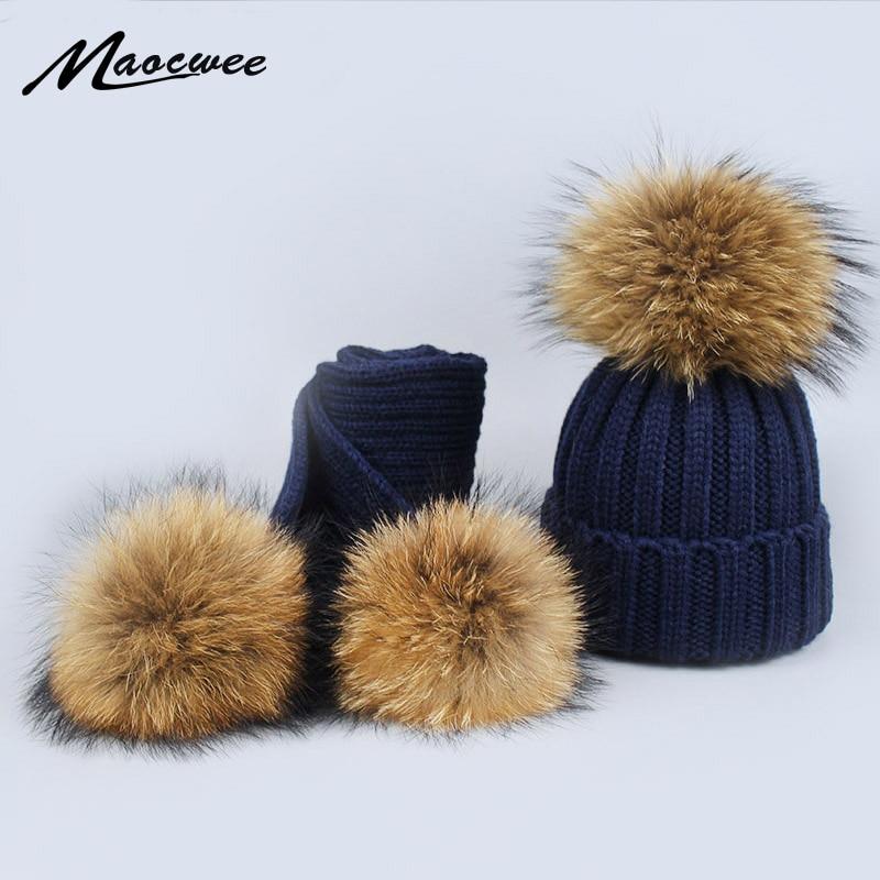 2019 Winter Hat Echte Fuchs Pelz Pom Pom Bobble Frauen Knit Ski Beanie Weihnachten Geschenk Neue Kopfbedeckungen Für Damen Eimer-hüte